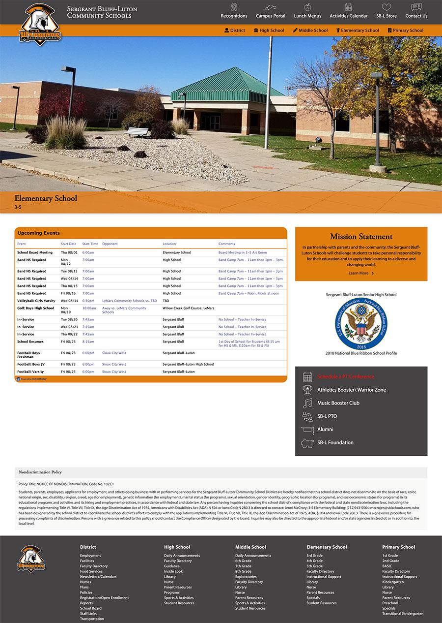 Sergeant Bluff-Luton School District Homepage Design