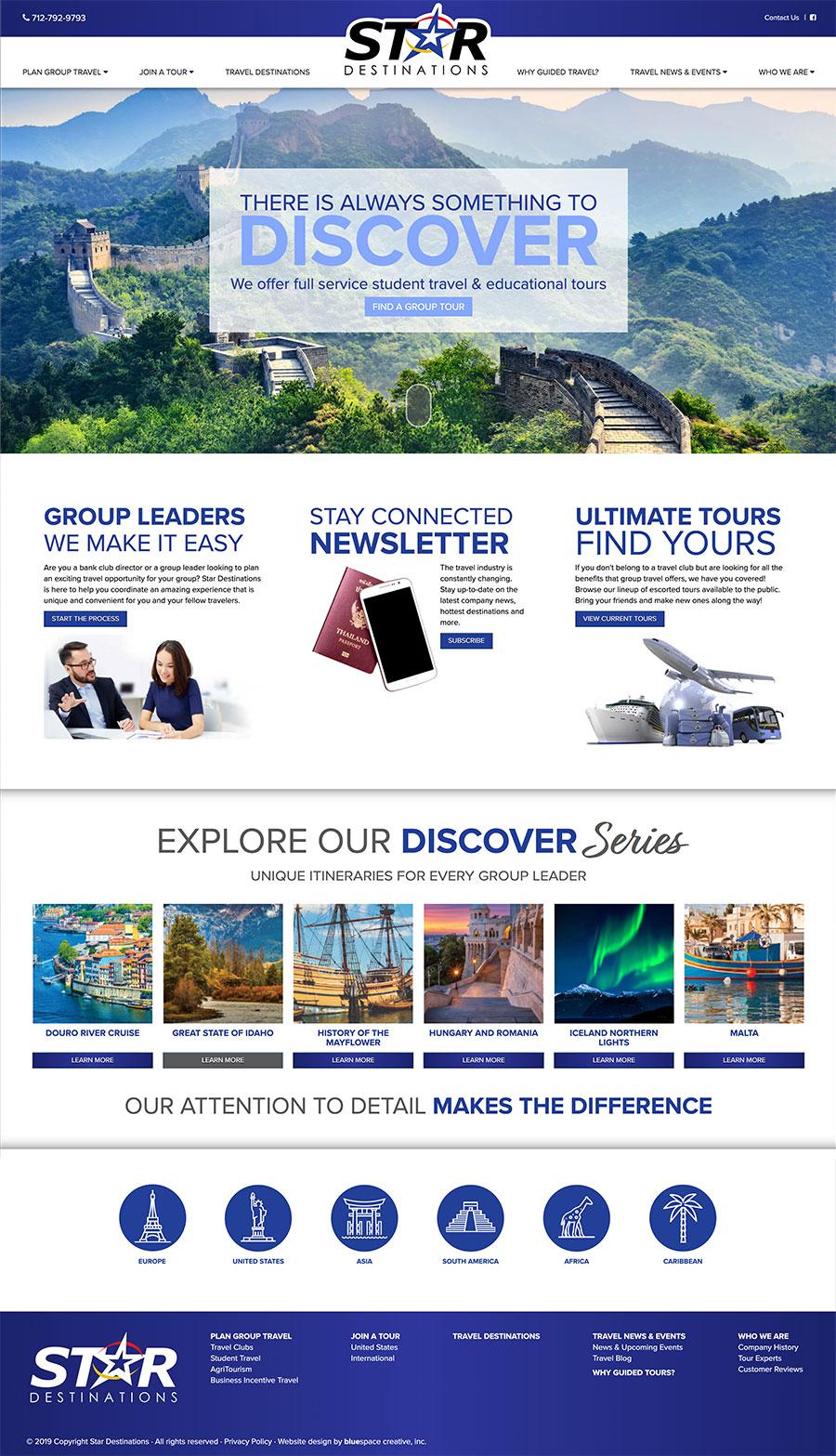 Star Destination travel planning website design