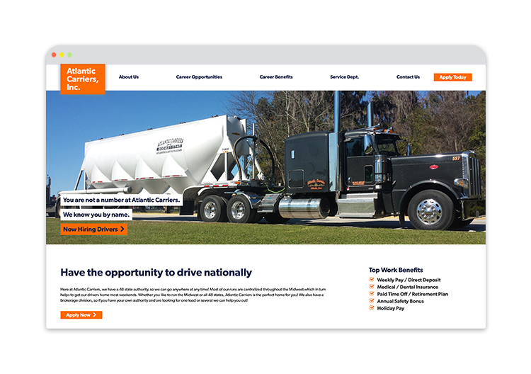 Custom Website for Trucking Company