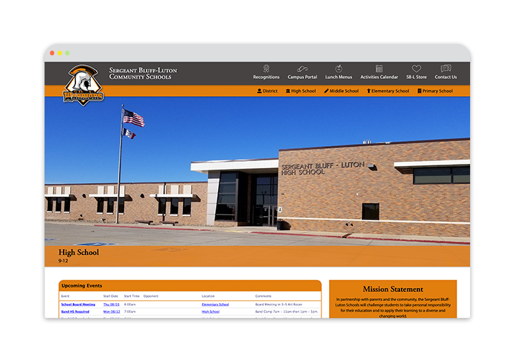 Custom Website for Public School Sergeant Bluffs