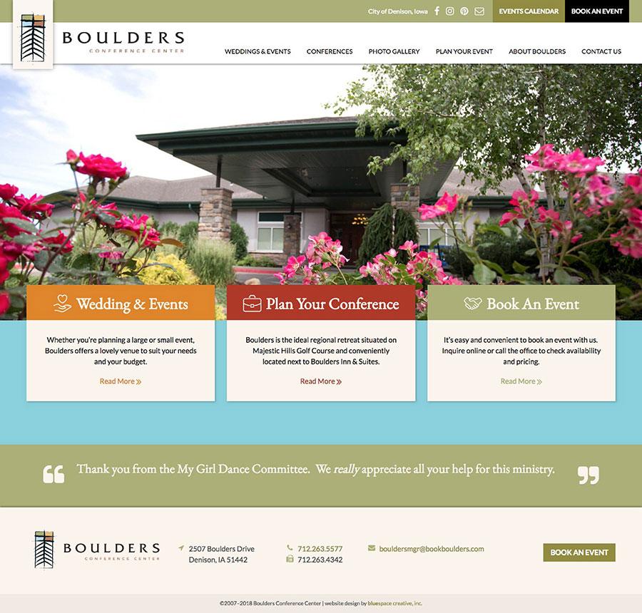 Boulders Conference Center Homepage Design