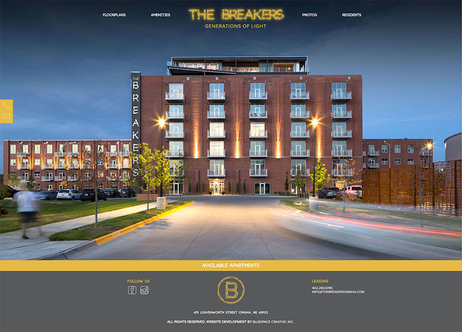 Breakers Omaha Apartments Homepage Design
