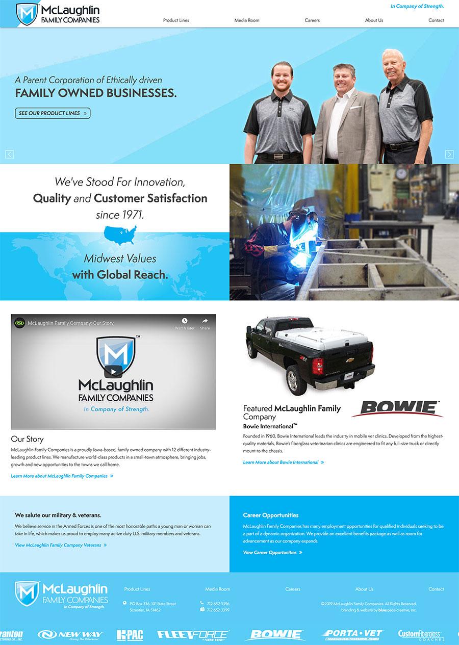 McFamCo parent Company homepage design